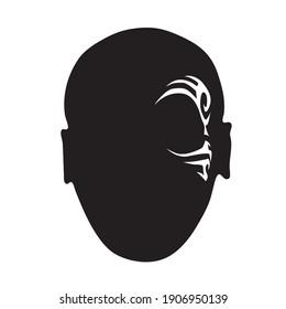 Mike Tyson silhouette (Portrait). Boxer man icon . Boxing