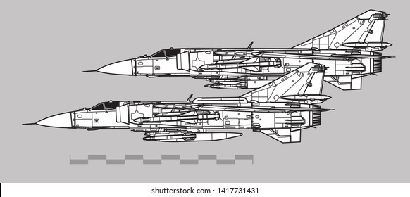 Mikoyan MiG-23 Flogger. Outline vector drawing