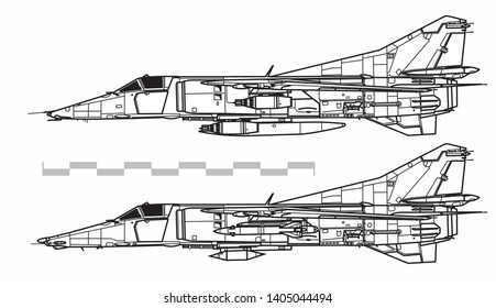 Mikoyan MiG-27 Flogger D. Outline vector drawing