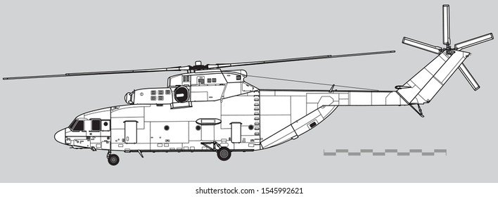 Mil Mi-26 Halo. Outline vector drawing. Vector drawing of military helicopter. Side view. Image for illustration.
