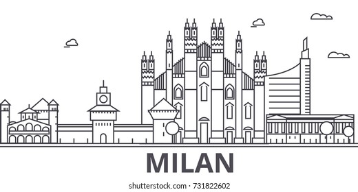 Milan architecture line skyline illustration. Linear vector cityscape with famous landmarks, city sights, design icons. Landscape wtih editable strokes