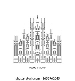 Milan Cathedral or Duomo di Milano - famous landmark of Milan, Italy. Monument of Catholicism and Italy Gothic architecture. Linear style outline vector illustration on white background