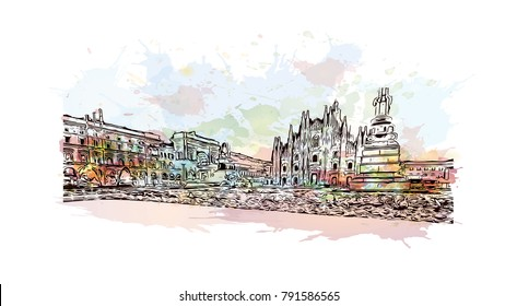Milan Cathedral, Duomo di Milano, Italy, one of the largest churches. Watercolor splash with sketch illustration in vector.