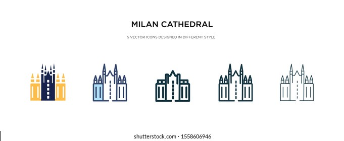 milan cathedral icon in different style vector illustration. two colored and black milan cathedral vector icons designed in filled, outline, line and stroke style can be used for web, mobile, ui