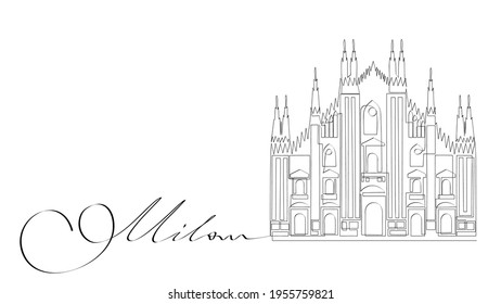 Milan Cathedral - symbol of italian city. Sights of Italy, minimalistic single continuous line drawing, ideal for minimalist postcard, poster or t-shirt design