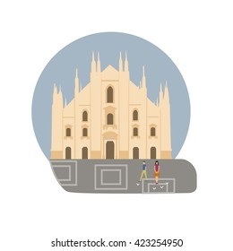 Milan Cathedral vector icon sign. Italy capital monument. World famous landmark. Duomo di Milano church symbol. Vector flat style design. Website, application button. Postcard, Postage Stamp, card