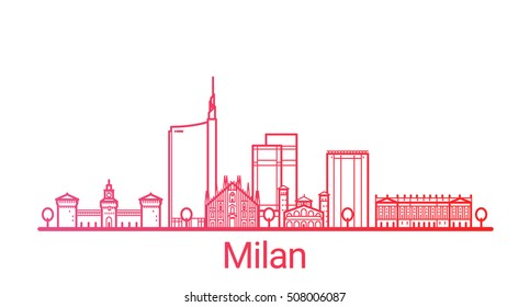 Milan city colored gradient line. All Milan buildings - customizable objects with opacity mask, so you can simple change composition and background fill. Line art.