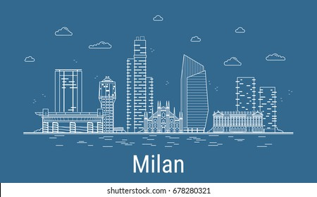 Milan city, Line Art Vector illustration with all famous towers. Linear Banner with Showplace. Composition of Modern buildings, Cityscape. Milan buildings set