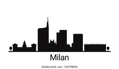 Milan city outline skyline. All Milan buildings - customizable objects, so you can simple change skyline composition. Minimal design.