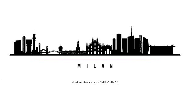 Milan City skyline horizontal banner. Black and white silhouette of Milan City, Italy. Vector template for your design.