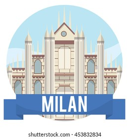milan city travel and tour design concept