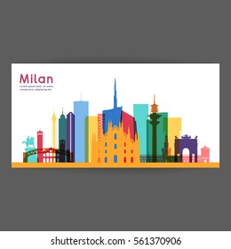 Milan colorful architecture vector illustration, skyline city silhouette, skyscraper, flat design.