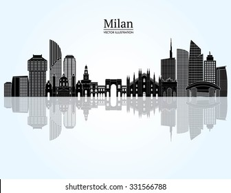 Milan detailed skyline. Vector illustration