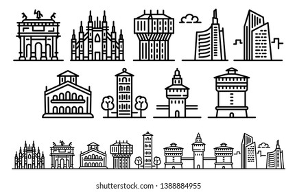 Milan icons set. Outline set of milan vector icons for web design isolated on white background