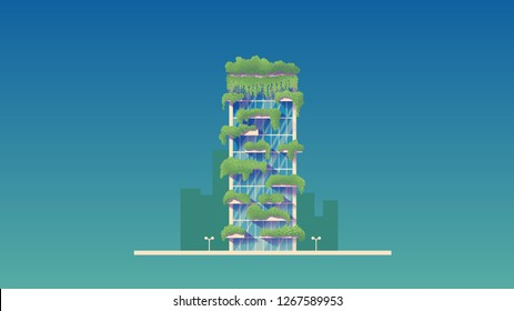 """MILAN, ITALY - 2019 Year of Ecology """"Bosco Verticale"""" Ecological Innovative Building Vector Illustration"""