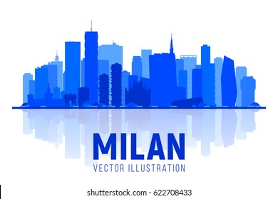 Milan Italy city silhouette skyline on whithe background. Business travel and tourism concept with modern buildings. Image for banner or web site.