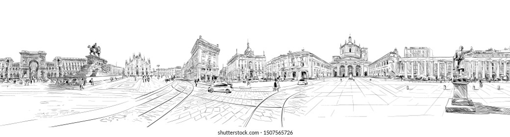 Milan. Italy. Piazza del Duomo. Victor Emanuel II Gallery. Milan Cathedral. City panorama. Collage of landmarks. Hand drawn sketch. Vector illustration.