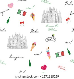 Milan, Italy seamless pattern with hand drawn sketch elements Duomo cathedral, flag, traditional food textile pattern