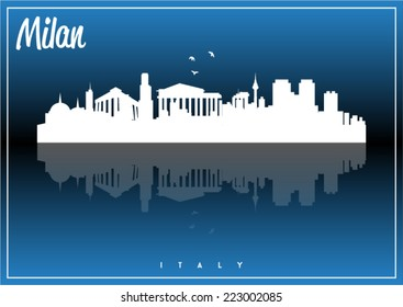 Milan, Italy skyline silhouette vector design on parliament blue and black background.