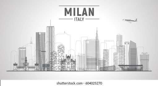 Milan Italy skyline vector line illustration. Business travel and tourism concept with modern buildings. Image for banner or web site.