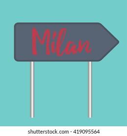 Milan road sign