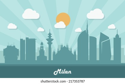 Milan skyline - flag design - vector illustration