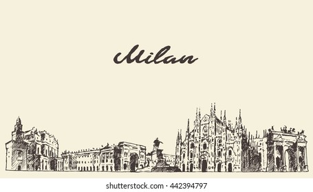 Milan skyline, Italy, vector engraved illustration, hand drawn, sketch