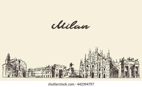 Milan skyline, Italy, vector engraved illustration, hand drawn, sketch