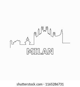 Milan skyline and landmarks silhouette black vector icon. Milan panorama. Italy