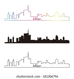 Milan skyline linear style with rainbow in editable vector file