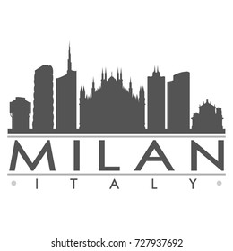 Milan Skyline Silhouette Design City Vector Art