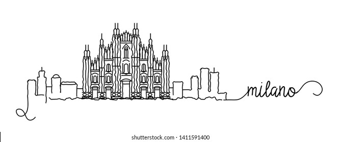 Milano City Skyline Doodle Sign