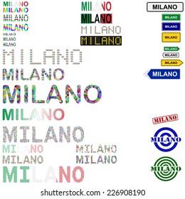 Milano (Milan) text design set