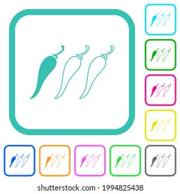 Mild chili pepper level vivid colored flat icons in curved borders on white background