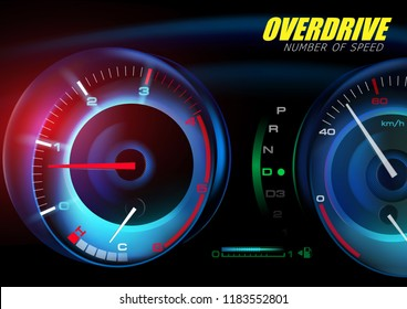 Mileage speedometer showing speed with abstract colors, dashboard and analogue, digital display. Of free space for your copy and branding. Realistic 3D vector illustration.