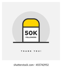 Milestone 50000 Followers! (Vector Design Template For Social Networks Thanking a Large Number of Subscribers or Likes)