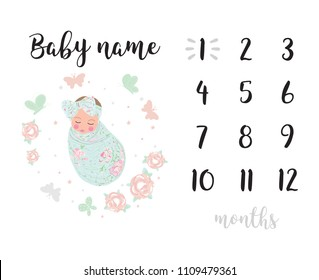 Milestone blanket girl background white black decoration card baby shower baby newborn month one two three four five six seven eight nine ten eleven month by month ye