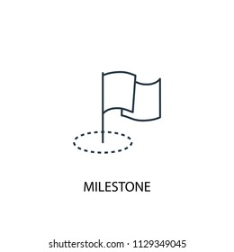 Milestone concept line icon. Simple element illustration. Milestone concept outline symbol design from Project management set. Can be used for web and mobile UI/UX