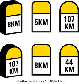 Milestone Icon, Road Side Distance Detail Stone Vector Art Illustration