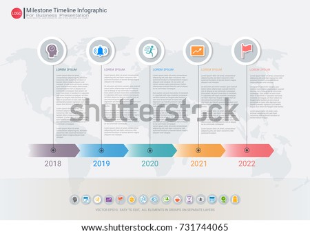 Milestone Timeline Infographic Template Five Steps Stock Vector
