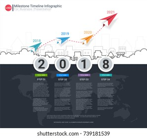 Milestone timeline infographic template with four steps or options, Communicate data through charts, graphs, Make facts and statistics more interesting, and easier to understand.
