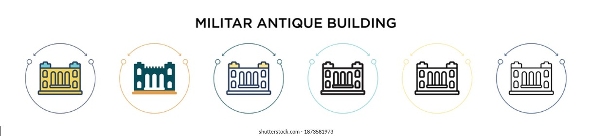 Militar antique building icon in filled, thin line, outline and stroke style. Vector illustration of two colored and black militar antique building vector icons designs can be used for mobile, ui,