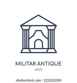 Militar antique building icon. Militar antique building linear symbol design from Army collection.