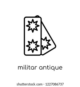 militar antique building icon. Trendy modern flat linear vector militar antique building icon on white background from thin line Army collection, outline vector illustration