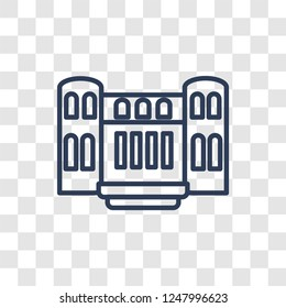 Militar antique building icon. Trendy linear Militar antique building logo concept on transparent background from army and war collection