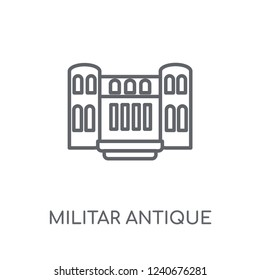 Militar antique building linear icon. Modern outline Militar antique building logo concept on white background from army and war collection. Suitable for use on web apps, mobile apps and print media.