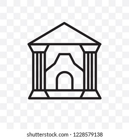 Militar antique building vector linear icon isolated on transparent background, Militar antique building transparency concept can be used for web and mobile