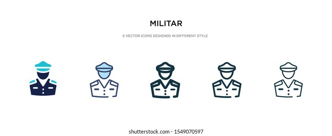 militar icon in different style vector illustration. two colored and black militar vector icons designed in filled, outline, line and stroke style can be used for web, mobile, ui