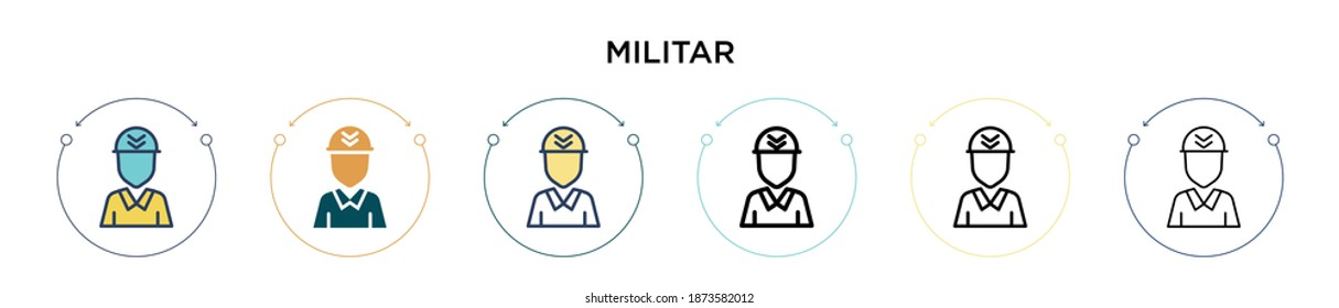 Militar icon in filled, thin line, outline and stroke style. Vector illustration of two colored and black militar vector icons designs can be used for mobile, ui, web