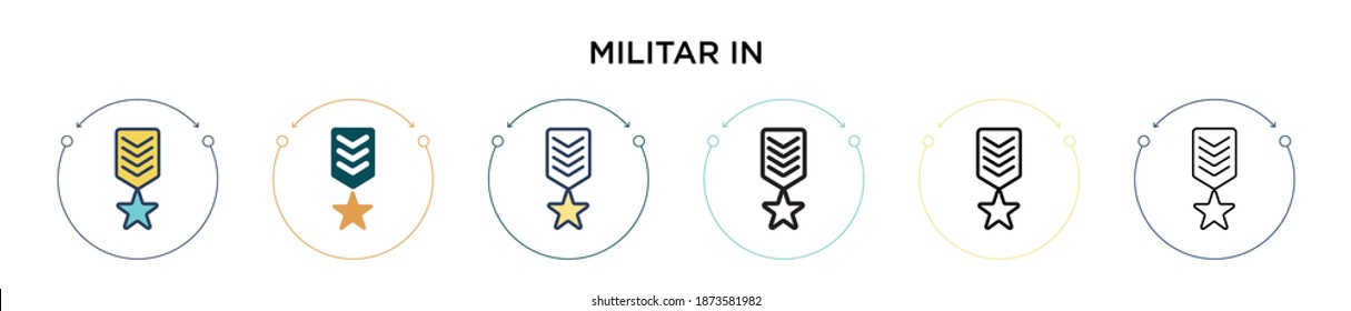 Militar insignia icon in filled, thin line, outline and stroke style. Vector illustration of two colored and black militar insignia vector icons designs can be used for mobile, ui, web